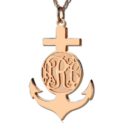Rose Gold Anchor Cross Monogram Initial Pendant - Crafted By Birthstone Design™
