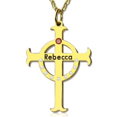 Circle Cross Necklaces with Birthstone  Name 18ct Gold Plated Silver  - Crafted By Birthstone Design™