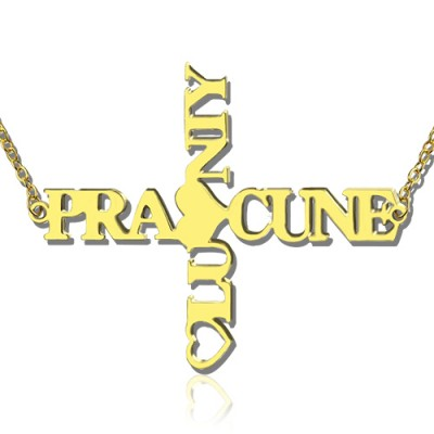 Personalised Two Name Cross Necklace Gold Plated 925 Silver - Crafted By Birthstone Design™