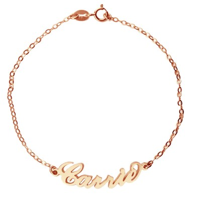 Rose Gold Plated Silver 925 Carrie Style Name Bracelet - Crafted By Birthstone Design™