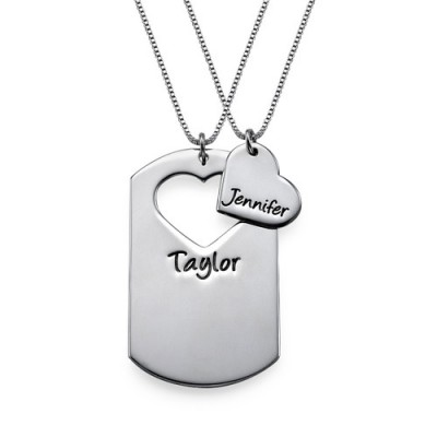 Couples Dog Tag Necklace With Cut Out Heart - Crafted By Birthstone Design™