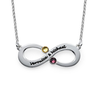 Couple's Infinity Necklace with Birthstones  - Crafted By Birthstone Design™