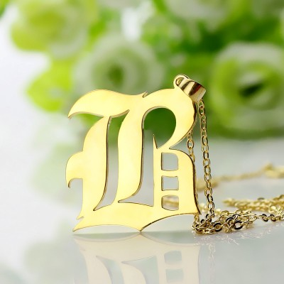Custom Mens Initial Letter Charm Old English 18ct Gold Plated - Crafted By Birthstone Design™