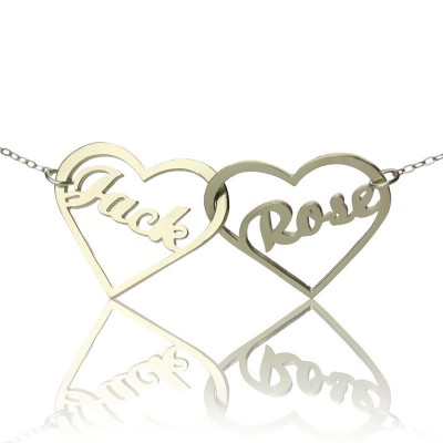 Double Heart Love Necklace With Names Sterling Silver - Crafted By Birthstone Design™