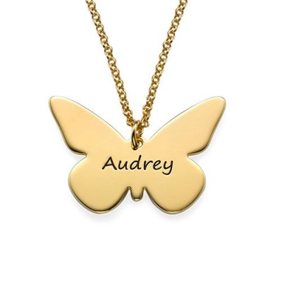 Engraved 18ct Gold Plated Pendant - Butterfly - Crafted By Birthstone Design™