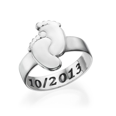 Engraved Baby Feet Ring - Crafted By Birthstone Design™