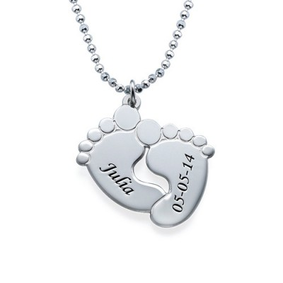Engraved Baby Feet Necklace in Sterling Silver - Crafted By Birthstone Design™