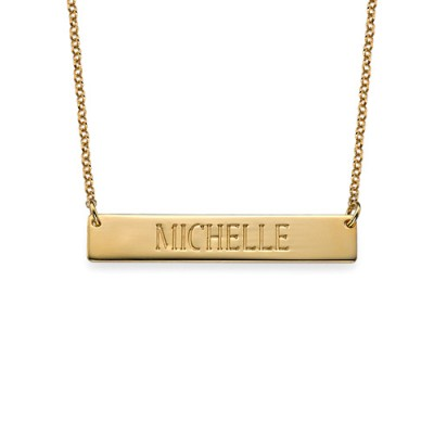 Engraved Bar Necklace in Gold Plating - Crafted By Birthstone Design™
