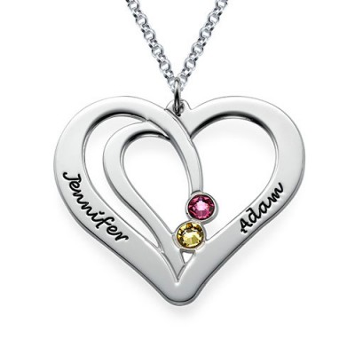 Engraved Couples Birthstone Necklace in Silver  - Crafted By Birthstone Design™