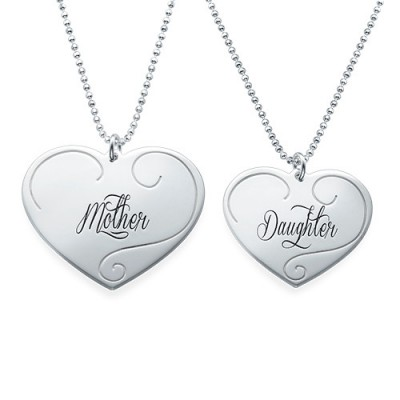 Engraved Heart Pendants - Mother Daughter Jewellery - Crafted By Birthstone Design™