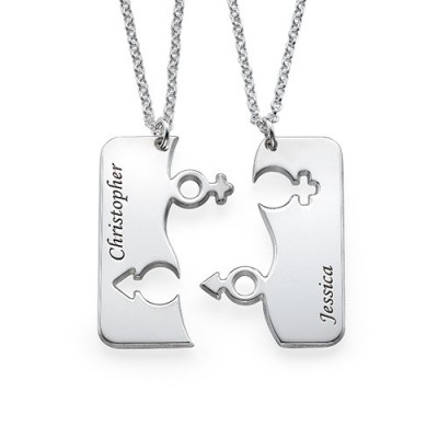 Engraved His and Hers Necklace for Couples - Crafted By Birthstone Design™