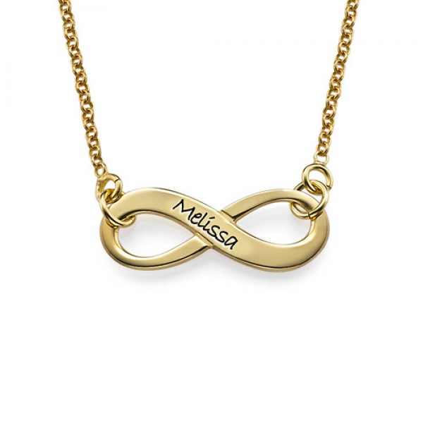 Engraved Infinity Necklace in 18ct Gold Plating - Crafted By Birthstone Design™