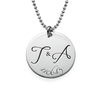 Engraved Initial Necklace with Special Date - Crafted By Birthstone Design™