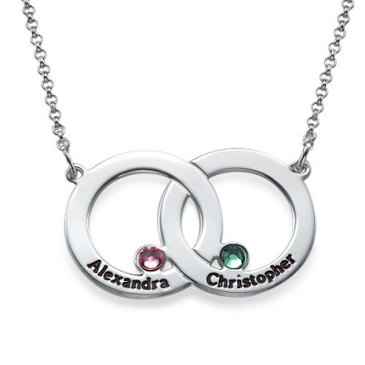Engraved Interlocking Circle Necklace - Crafted By Birthstone Design™