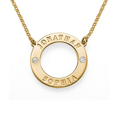 Engraved Karma Necklace with Two Crystals - Crafted By Birthstone Design™