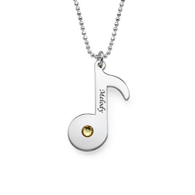 Engraved Music Note Necklace with Birthstone  - Crafted By Birthstone Design™