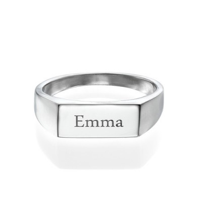 Engraved Signet Ring in Sterling Silver - Crafted By Birthstone Design™
