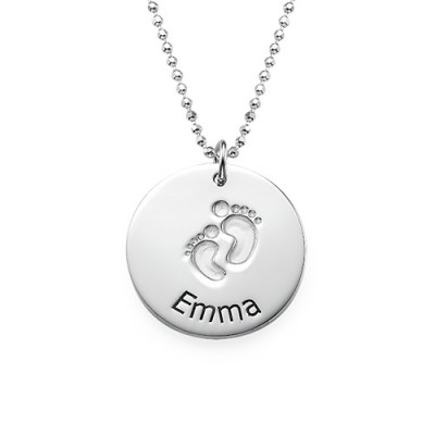 Engraved Silver Baby Steps Necklace - Crafted By Birthstone Design™