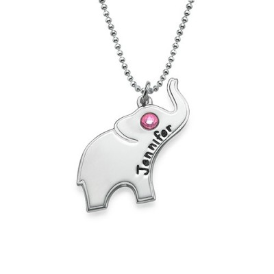 Engraved Silver Elephant Necklace - Crafted By Birthstone Design™