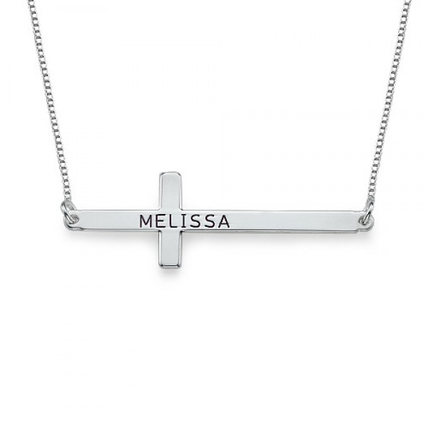 Engraved Silver Sideways Cross Necklace - Crafted By Birthstone Design™