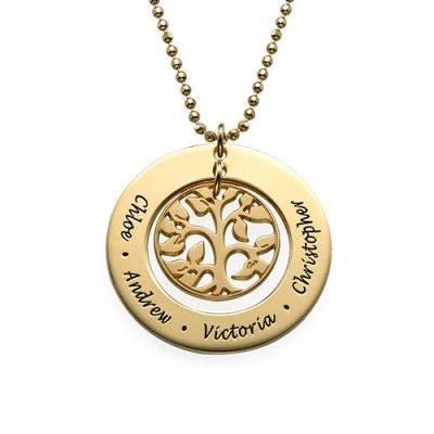Present for Mum - Gold Plated Family Tree Necklace - Crafted By Birthstone Design™