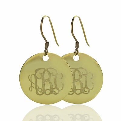 Disc Signet Monogram Earrings In Gold - Crafted By Birthstone Design™