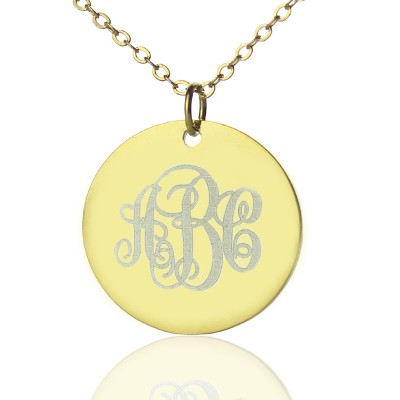 Disc Script Monogram Necklace 18ct Gold Plated - Crafted By Birthstone Design™