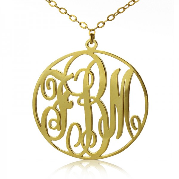 18ct Gold Plated Circle Initial Monogram Necklace - Crafted By Birthstone Design™