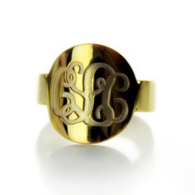Engraved 18ct Gold Plated Script Monogram Itnitial Ring - Crafted By Birthstone Design™