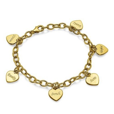 18k Gold Plated Heart Charm Mothers Bracelet/Anklet - Crafted By Birthstone Design™