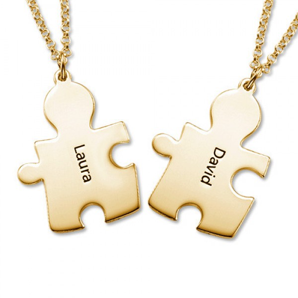 18CT Gold Plated Personalised Couple's Puzzle Necklace - Crafted By Birthstone Design™