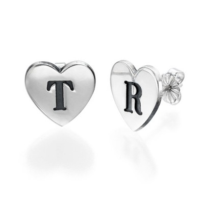 Heart Initial Earrings - Crafted By Birthstone Design™