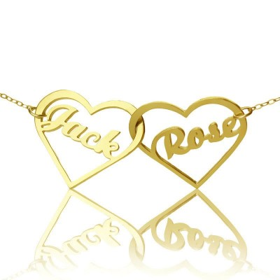 Double Heart Name Necklace 18ct Gold Plated - Crafted By Birthstone Design™
