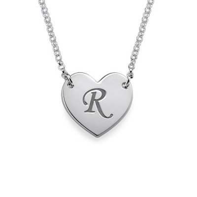 Heart Necklace with Initial Print Font - Crafted By Birthstone Design™