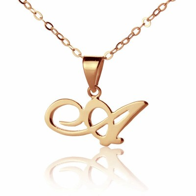 Custom Letter Necklace 18ct Rose Gold Plated - Crafted By Birthstone Design™