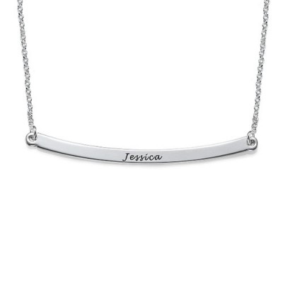 Horizontal Silver Bar Necklace - Crafted By Birthstone Design™
