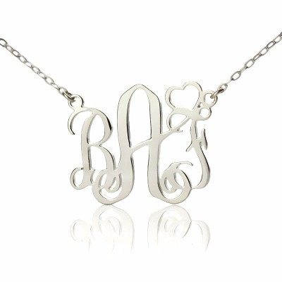 Personalised Initial Monogram Necklace 18ct White Gold Plated With Heart - Crafted By Birthstone Design™