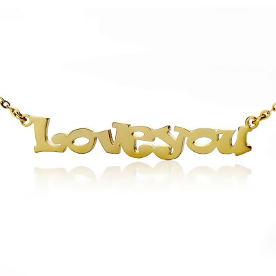 Cute Cartoon Ravie Font 18ct Gold Plated Name Necklace - Crafted By Birthstone Design™