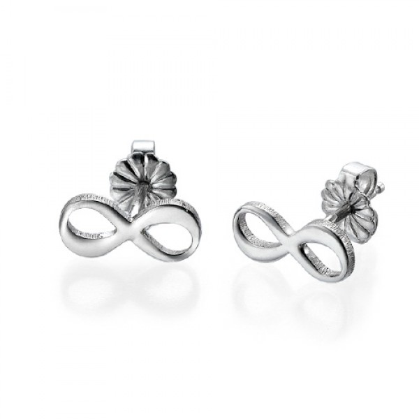 Infinity Stud Earrings with Initial - Crafted By Birthstone Design™