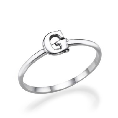 Initial Ring in Sterling Silver - Crafted By Birthstone Design™