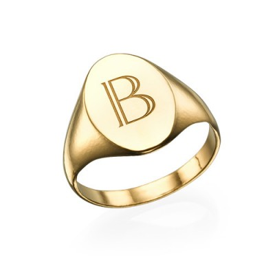 Initial Signet Ring - 18ct Gold Plated - Crafted By Birthstone Design™