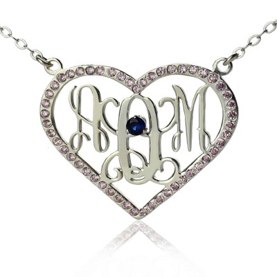 Sterling Silver Heart Birthstone Monogram Necklace  - Crafted By Birthstone Design™