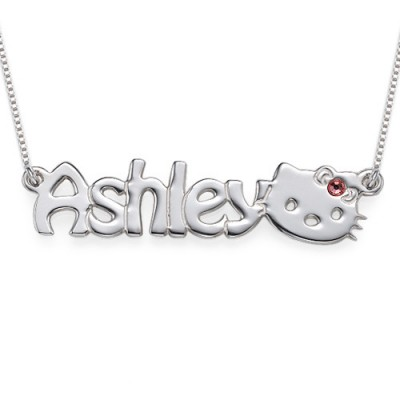 Kitten Nameplate Necklace for Girls - Crafted By Birthstone Design™