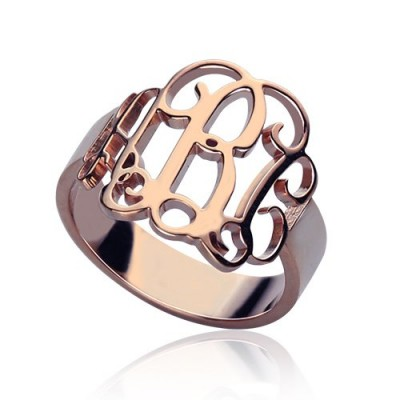Personalised Rose Gold Monogram Ring - Crafted By Birthstone Design™