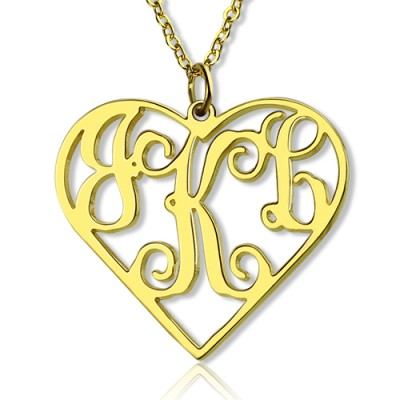 18ct Gold Plated Silver 925 Initial Monogram Personalised Heart Necklace-Single Hook - Crafted By Birthstone Design™
