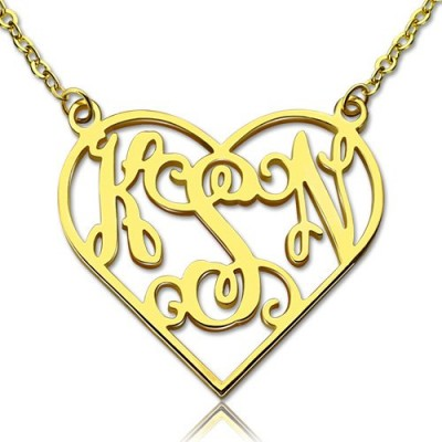 Cut Out Heart Monogram Necklace 18ct Gold Plated - Crafted By Birthstone Design™
