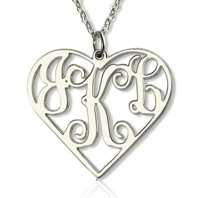 Sterling Silver Cut Out Heart Monogram Necklace - Crafted By Birthstone Design™
