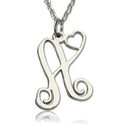 One Initial Monogram With Heart Necklace Silver - Crafted By Birthstone Design™