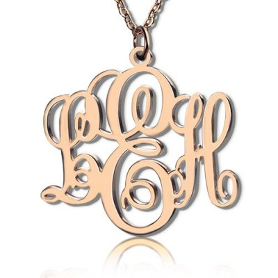 Personalised Vine Font Initial Monogram Necklace 18ct Rose Gold Plated - Crafted By Birthstone Design™