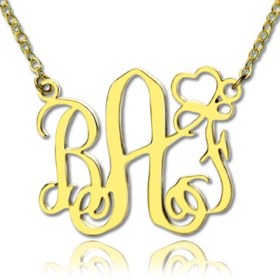 Personalised Initial Monogram Necklace With Heart 18ct Gold Plated - Crafted By Birthstone Design™